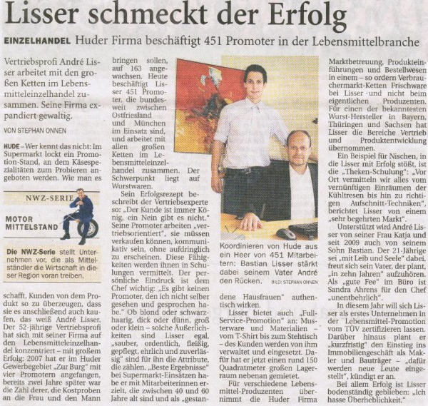 Zeitungsanzeige NWZ 30.06.2011